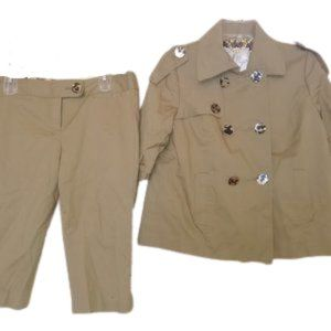 Khaki Jacket Blazer & Capris Size 6 & 10